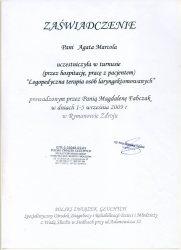 2009 - Zaświadczenie - Logopedyczna terapia osób laryngektomowanych