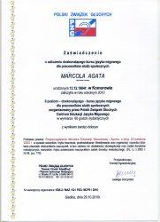 2010 - Zaświadczenie o zaliczeniu doskonalącego kursu języka migowego