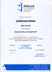 2011 - Zaświadczenie o szkoleniu Usprawnienie po laryngektomii